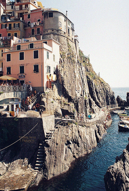 | ♕ |  Clifftop village, Riomaggiore - Liguria, Italy  | by idiot's dream