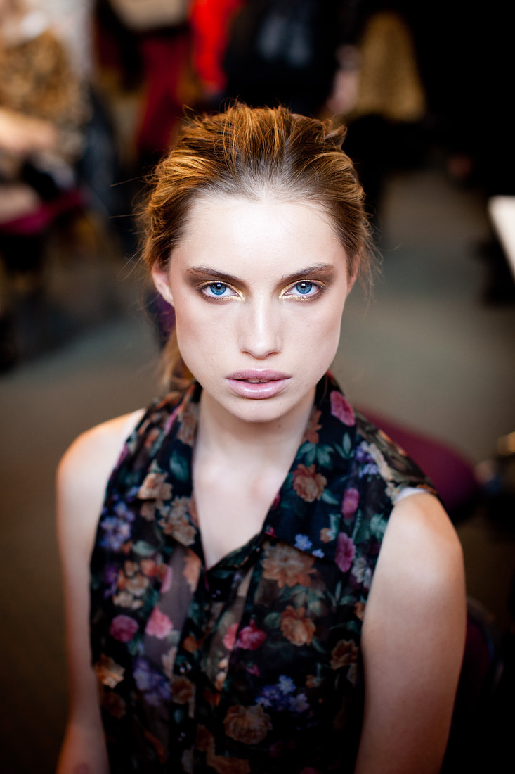 A model backstage at Rosemount Australian Fashion Week 2011.