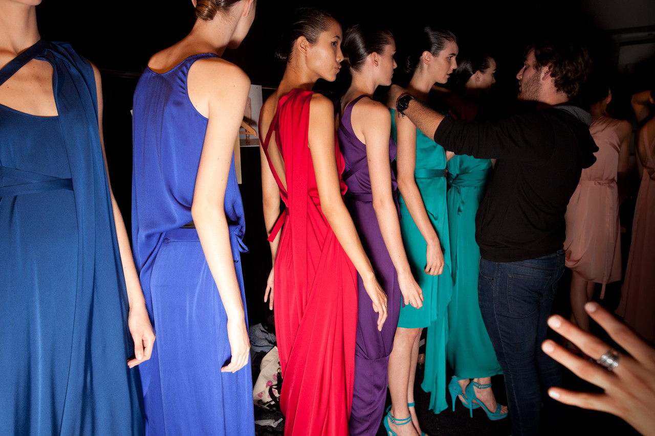 Models line up backstage for Carl Kapp at Rosemount Australian Fashion Week 2011. More photos here.