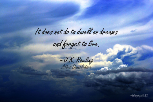 It does not do to dwell on dreams and forget to live. J.K. Rowling (Albus Dumbledore), Harry Potter & the Sorcerer's Stone  Background image from my photoblog | More graphics here