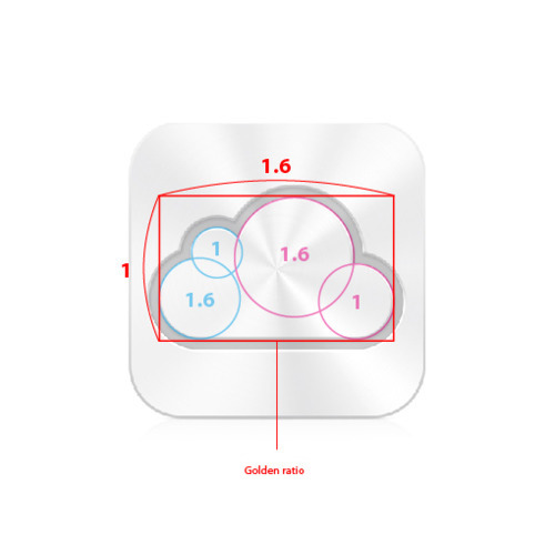 Apple iCloud icon golden ratio
