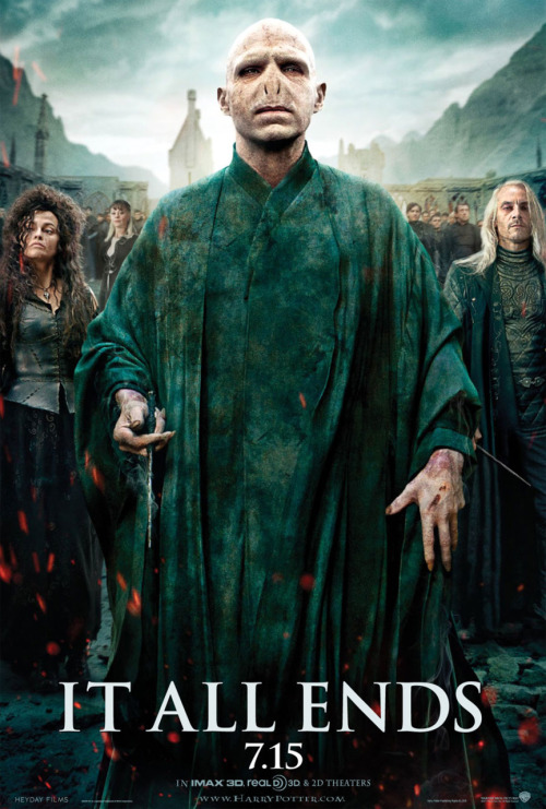 New Voldemort poster for Deathly Hallows Part 2 A new Harry Potter and the Deathly Hallows poster has appeared, this time featuring the villains. The poster is the mirror to yesterday's poster which featured Harry, Ron and Hermione in a row. This time Lord Voldemort (Ralph Fiennes) squares up with Bellatrix Lestrange (Helena Bonham Carter) and Lucius Malfoy (Jason Isaacs).
