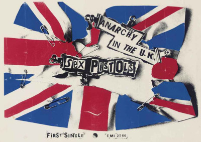 The Sex Pistols - A small promotional poster for the single Anarchy In The UK, EMI, 1976, designed by Jamie Reid — 24x17in. (61x43cm.)