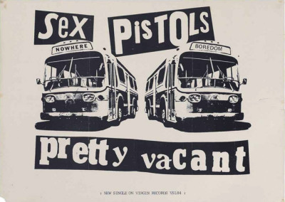 A promotional poster for the single Pretty Vacant, Virgin Records, 1977, Nowhere Buses style, designed by Jamie Reid —  39½x28½cm. (100x72.5cm.)