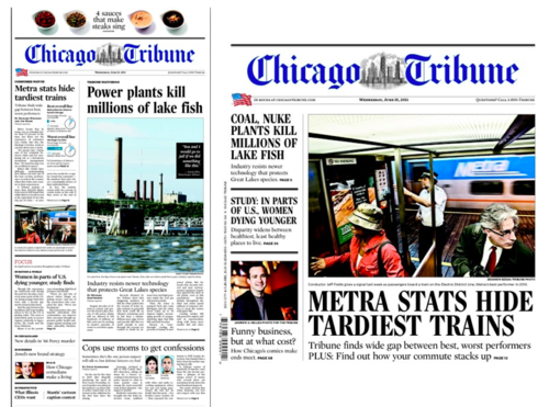 chicago tribune masthead. Chicago Tribune in print,