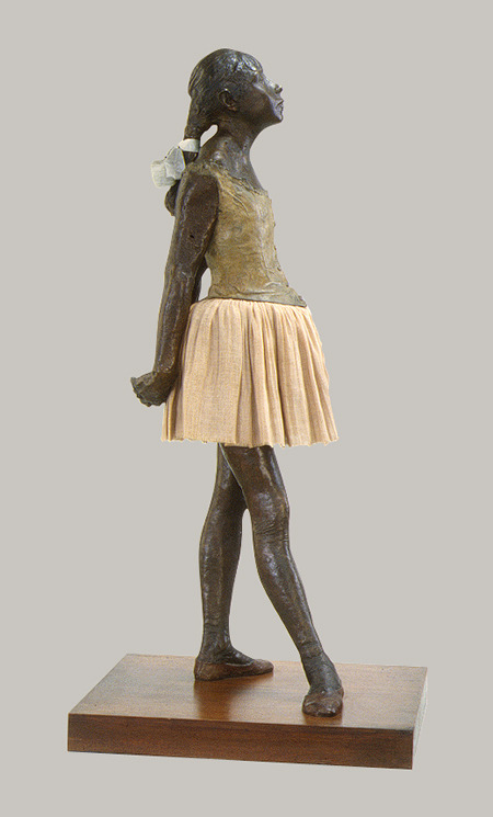 Little Fourteen-Year-Old Dancer sculpture by Edgar Degas. Modeled ca. 1879-80 (via Edgar Degas: The Little Fourteen-Year-Old Dancer (29.100.370) | Heilbrunn Timeline of Art History | The Metropolitan Museum of Art)