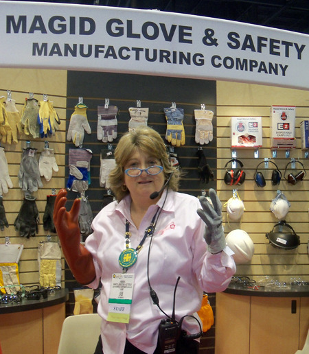 "A Safety Slogan From ASSE's Nancy O'Toole:  ""Safety fits like a glove. Try one on."" (or) ""No Glove, No Safety!""  With special thanks to Magid Glove & Safety"
