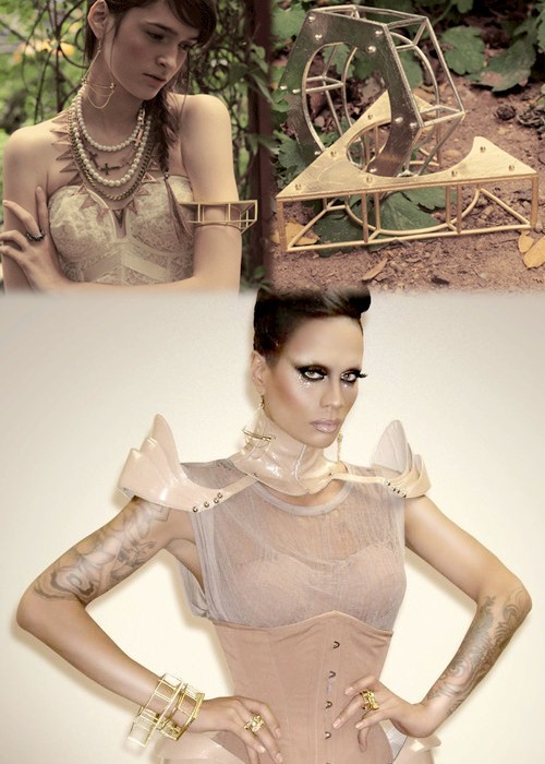 Raja rockin' Chris Habana's Hexagon and Triangle Plate Cuff, Hoised Bone Earrings