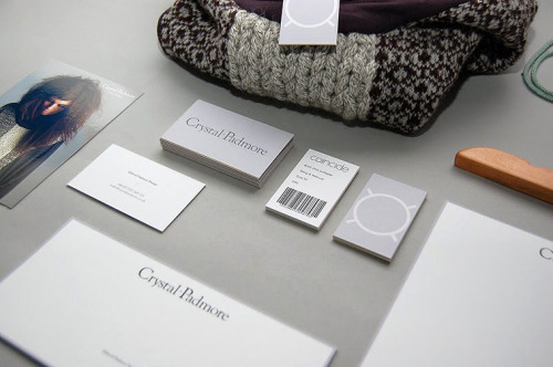 Crystal Padmore Identity and branded materials for ethical fashion designer Crystal Padmore. Printed materials included basic stationery, fashion labels, and two types of collection lookbooks.   by Ian Edward Prentice