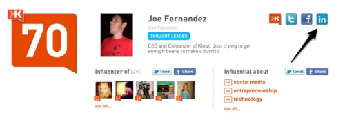 Klout Expands Influence Scoring To Professional Social Network LinkedIn Klout,  a startup that measures influence on Twitter and Facebook, is expanding its product today with the addition of LinkedIn.  With the launch of Klout scoring for LinkedIn, you'll be able to add  your LinkedIn account to your Klout score and see your influence on the  professional social network network itself. For background, Klout evaluates users' behavior with complex ranking  algorithms and semantic analysis of content to measure the influence of  individuals on social networks. On Twitter, Klout's influence score is based on a user's ability to  drive action through Tweets, Retweets and more. On Facebook, Klout will  examine how conversations and content generate interest and engagement,  via likes, comments, and more, from the network's nearly 700 million  users. While Klout declined to give specifics on exactly what they are  anlyzing (i.e. Likes, Tweets); the startup said it will analyze your  interactions on the LinkedIn, who you are interacting with and engaging,  and what types of content you are sharing with contacts. It's important  to note that simply having more connections on LinkedIn won't get you a  higher Klout score; it's about the quality of those connections. Source: TechCrunch