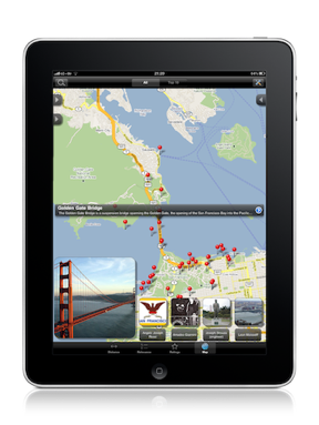 Google maps + Wikipedia = Wikihood. (free iPad/iPhone app)