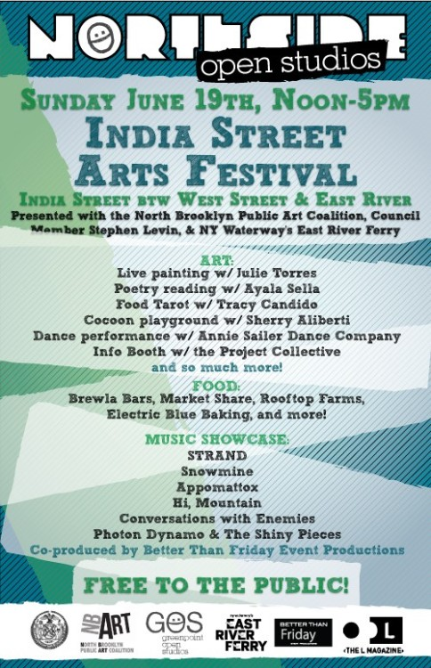 Come visit us at Northside Open Studio's India Street Arts Festival this Sunday! We'll have an Info Booth set up all day (12-5pm) and we're looking forward to meeting some new friends and collaborators!