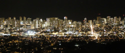 Night picture of Honolulu.   didnt have a tripod to use :(  turned out ok though