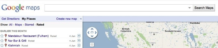 Google Maps updated to include My PlacesThe Google Maps team have added a handy new feature today, a new 'My Places' tab that will allow you to quickly access any starred addresses, created maps or rated Places.
