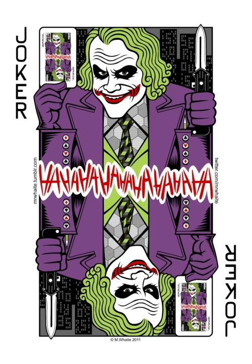 mrwhaite:  Continuing with my series of movie playing cards - there's now a Joker in the pack. How about a magic trick? Cards, prints and posters of this artwork are available here - http://www.redbubble.com/products/configure/7327153-greeting-card T-shirts are also available - http://www.redbubble.com/products/configure/7327166-t-shirt