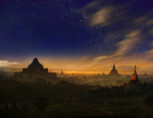 Star trails over pagodas in Bagan, Myanmar by Weerapong Chaipuck. Doesn't even feel like our planet. I need to travel more!