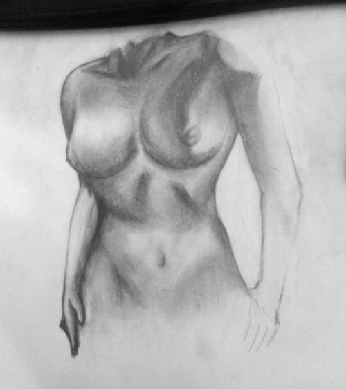 working on an older sketch of a female torso. anatomy needs quite a bit of work again but shading is getting there.