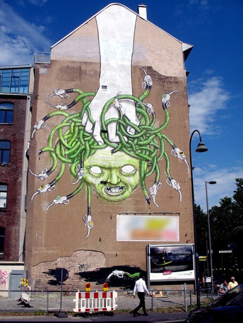 "Medusa Gas, a new environmental mural by ""controversial"" graffiti artist BLU in Cologne, Germany. More Medusa pics, here.  More environmental murals by BLU, here."