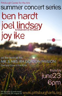 June 23, 6pm Summer Concert Series with Joy Ike, Ben Hardt and Joel Lindsey @ Pittsburgh Center for the Arts