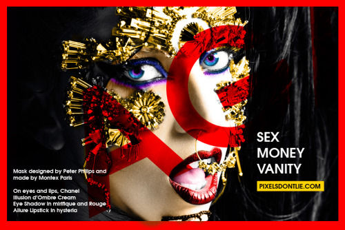 Mask designed by Peter Philips and made by Montex ParisOn eyes and lips, Chanel Illusion d'Ombre CreamEye Shadow in mirifique and Rouge Allure Lipstick in hysteria Graphic Design by Bobby Locksville