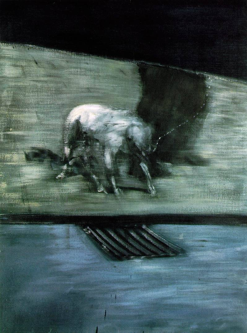 iwritewordsgood:  Francis Bacon - Man With Dog (1953)