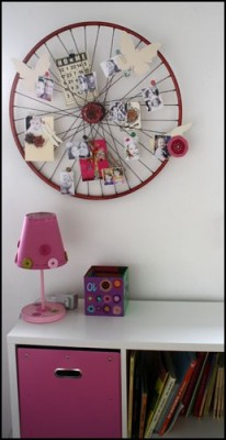 My last craft post for the day. :)  falling-in-love-tomorrow:  Old bike wheel turned into a memo board