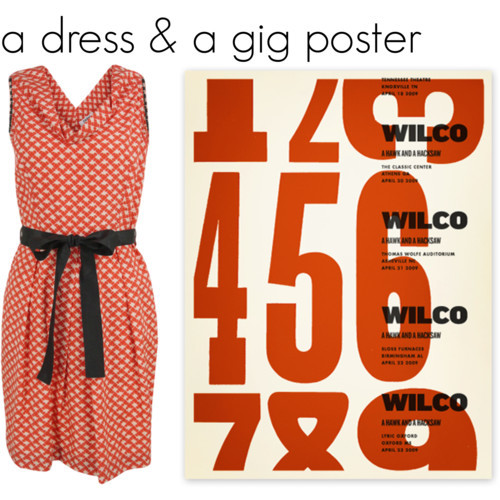 dress by Nicole Farhi, poster by Alvin Diec