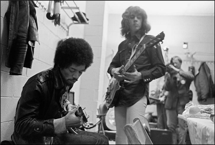 Jimi Hendrix and Mick Taylor by Ethan Russel, New York, 1969