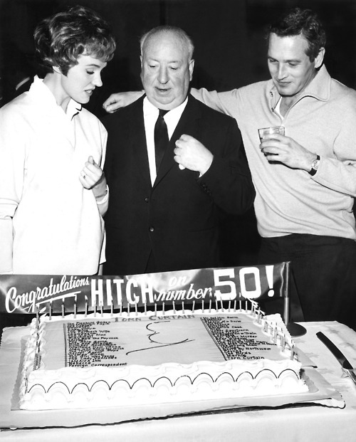 awesomepeoplehangingouttogether:  Julie Andrews, Alfred Hitchcock and Paul Newman
