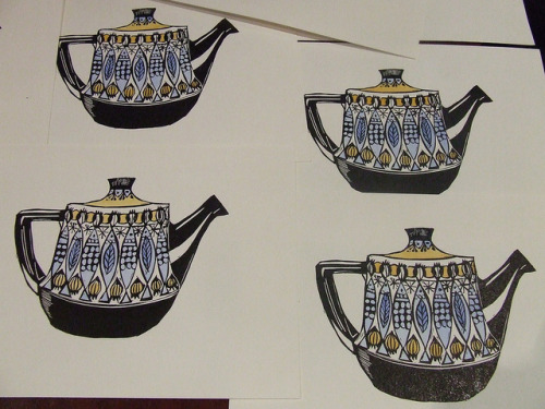 new handcoloured linocuts on Flickr.brand spankin new linocut teapot prints