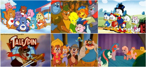 LOVE THIS! gummi bears,ducktales,talespin,chip n dale,my little pony! cuteness/nostalgia overload :)
