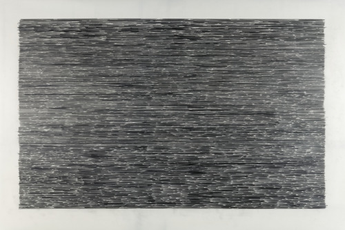 "untitled ( lines ""y"" 10,000 horizontal) 2011_06_13 graphite on polyester drafting film  39"" x 60"" (99.06 x 152.4)cmMatt Niebuhr "" … the ten thousand things … """