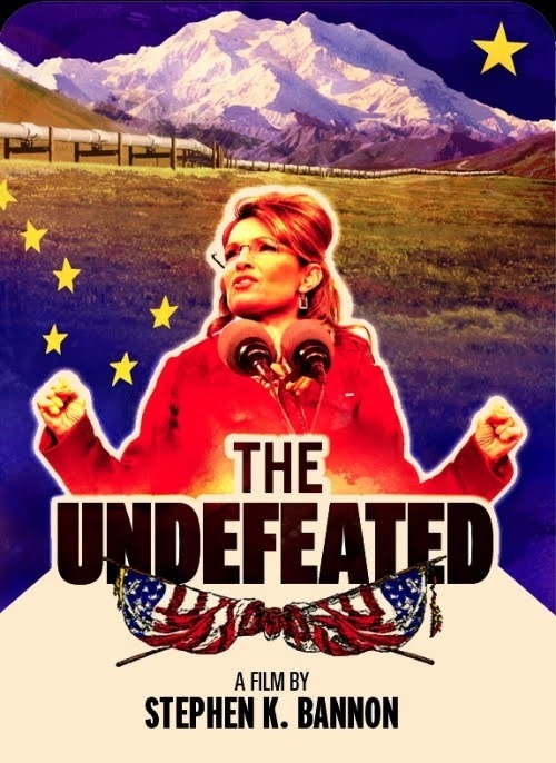 So this is what passes for the movie poster for the pro-Palin film The Undefeated Seriously? First, you take the double hand job pose and then throw in some clip art and run it through a couple awful Photoshop filters. Barack Obama would never put up with this kind of sloppy half-ass graphic design, and that's why he's president. You can see a preview clip, with more info here. The Undefeated hits theaters July 15th.