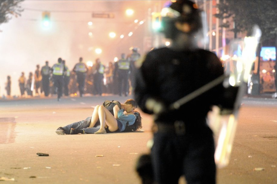 "Best rioters evar. Also, a caption: ""Canadians discover that, when mixed with alcohol, pepper spray becomes a powerful aphrodisiac."""