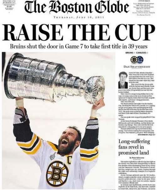 ohryankelley:  RAISE THE CUP Bruins shut the door in Game 7 to take first title in 39 years (via: The Boston Globe)  So beautiful.