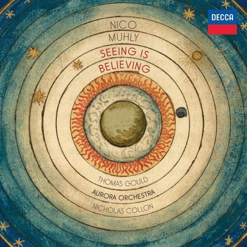 "Nico Muhly: Seeing is Believing - Thomas Gould and the Aurora Orchestra with violinist Nicholas Collon. First Listen Minimalism, electronic fusion, and early English choral music don't generally sit together comfortably within the same sentence, still less on the same classical disc. That fact alone makes Seeing Is Believing worth a listen, aside from these superb performances.  Twenty-nine-year-old American composer Nico Muhly has an extraordinary CV for his age. Achievements include works being premiered by the Chicago Symphony and the New York Philharmonic, a collaboration with Björk, and composing the film score for The Reader. If all this weren't enough, shortly after this review is posted English National Opera will perform the British première of his first opera, Two Boys, with its thoroughly modern storyline about the darker side of the internet. In other words, think Muhly, think youthful no-rules classical, full of cross-genre inventiveness, and indeed that's exactly what you get with Seeing Is Believing. Seeing Is Believing references the ancient practise of observing and mapping the sky. His third album for Decca Classics, it punctuates four of Muhly's original compositions with three of his orchestral arrangements, of motets by Byrd and Gibbons. Miserere Mei is particularly fascinating for the fact in which initially it appears to be a literal orchestration job, thanks to the way he has carefully conserved the original vocal part-writing. However, upon the opening of the ""Zion is wasted"" section, everything changes. Carefully placed little modern twists appear in the shape of registral extremes in the piano and gamelan gongs, which surprise, delight, and thoroughly update the originals whilst maintaining all their sense of antiquity and sacred dignity. It's genius. They're mesmerising complements to his original compositions, which are edgy, sometimes delicate, vital works, heavy with the influence of the great American minimalists but also drawing from modern electronic idioms. The title-track, a concerto for electric violin, is a case in point, played with brilliance by Thomas Gould. Equally brilliant are the Aurora Orchestra's performances. In the motet arrangements, their playing style is a delicious amalgam of early and contemporary playing styles, whilst the original works are presented with energy, dynamism and a sheer joy in the music. If Muhly is a new name to you, then this beautifully performed disc is the one to get hold of. His music is clever, young, complex and multi-faceted. It's also capable of beguiling listeners of all ages, classical 'experts' and newcomers alike. You can't ask for more than that. (via)  This is awesome, check it out (click image for streaming)"