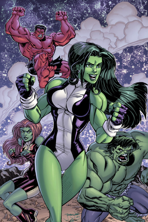 She-Hulk and the Hulks by Jeremy Dale with inks by Kelly Dale and colors by Steve Downer.