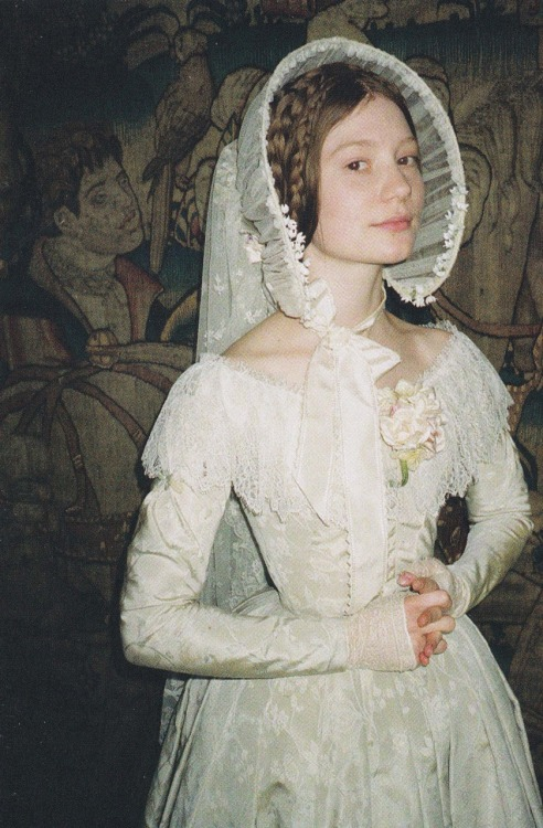 enchantingimagery:  Mia all geared up for Jane Eyre (2011), bridal style.   I loved this bonnet!