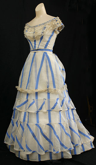 An lovely striped organdy summer evening dress dating to 1867.