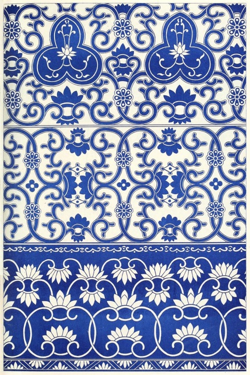 oldbookillustrations:  Borders from blue-and-white china bottles. From Examples of Chinese ornament, by Owen Jones, London, 1867. (Source: archive.org)