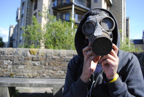 Jameel found a gas mask at work and started wearing it in public… as you do.