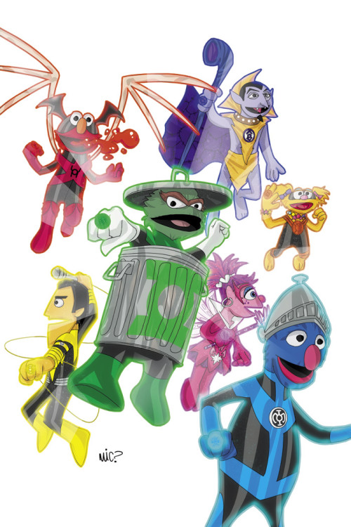 allnotlost:  Sesame Street meets the Lantern Corps. Awesome.  Man, they got these Lanterns all wrong. #nerdery