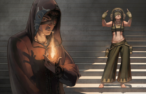 Zuuko and Toph Art! Avatar Street: Fire and Earth, by dustsplat. (Via hayleyquinnn )