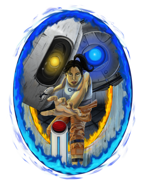 Portal: Push the Button - Art by CyberWolf245.