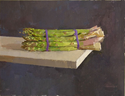 "hijaktaffairs:  alex fowler asparagus  (no.2) oil on c.  laid on board, 10""  x 13"""