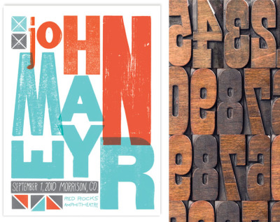 Cleaning off my desktop I found this poster I designed for John Mayer using found wood type (similar seen here). Final poster was silkscreened 18x24 3 color. Info here.