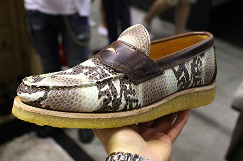 80 Pitti Uomo Yuketen goes Wild at Heart with these rattlesnake skin crepe soled loafers. Source: Selectism
