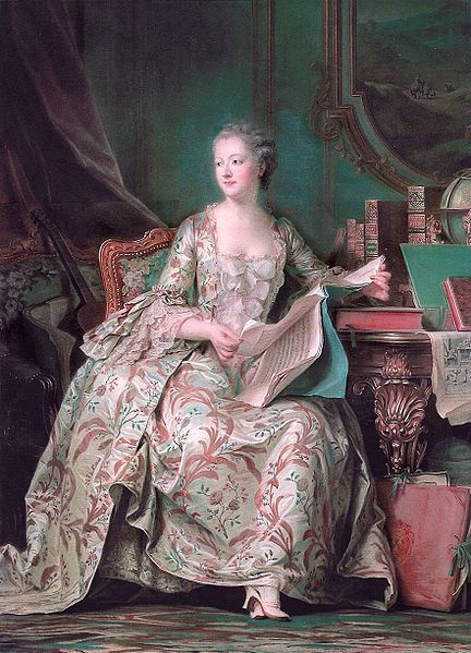 "ornamentedbeing:  Madame de Pompadour pastel by Maurice Quentin de La Tour, shown at the Paris Salon, 1755 (Louvre Museum)  Madame de Pompadour is one of the most baller ladies ever. (Though now, when I hear her name, I immediately think of ""The Girl in the Fireplace."")"