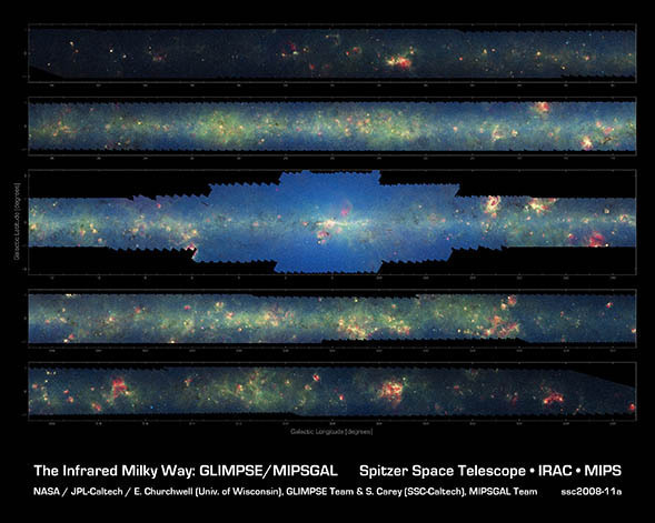Composite image of the inner Milky Way made of more than 800,000 frames from the Spitzer Space Telescope. That's big. But always remember, space is much, much much bigger. (via NASA)