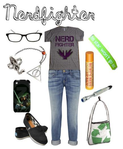 Before you reblog this and attack me, I know not all nerdfighters dress alike or have the same style. This is just an example of some things that I love as a nerdfighter. Someone suggested I make a Nerdfighter Polyvore, and so I did. I wish I had most of this stuff. Obviously the shirt is from DFTBA.com, the jewelry is Harry Potter, and of course the Esther bracelet, the cellphone has a Star Wars cover, the bag is a recycled canvas bag, TOMS shoes, rolled jeans, and a sonic screwdriver for all the whovians out there. And ANYONE'S best friend… chapstick.